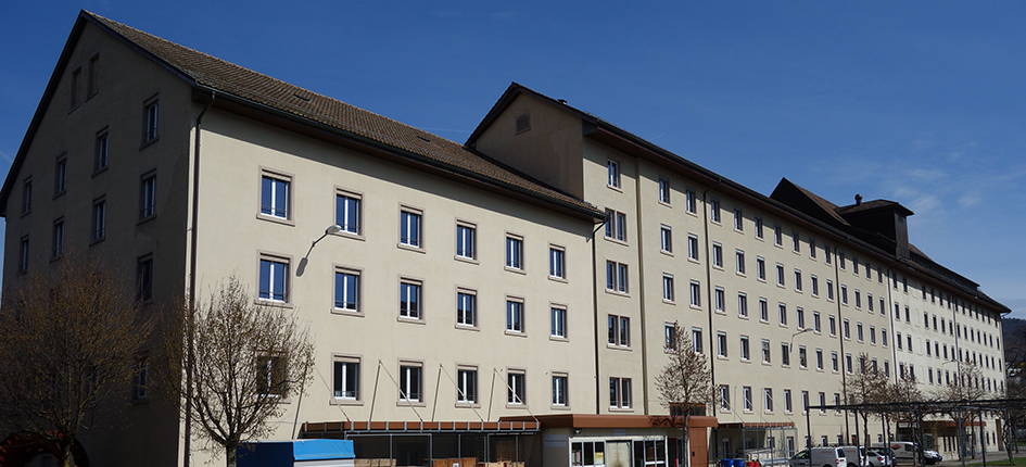 In der ehemaligen Baumwollspinnerei in Turgi entstehen Büroflächen. Bild: Paebi/ Wikipedia, CC-BY-SA-4.0